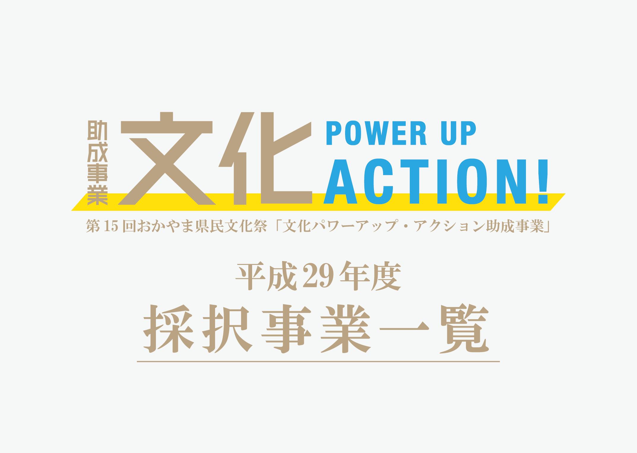平成29年度 文化パワーアップ・アクション 採択事業結果